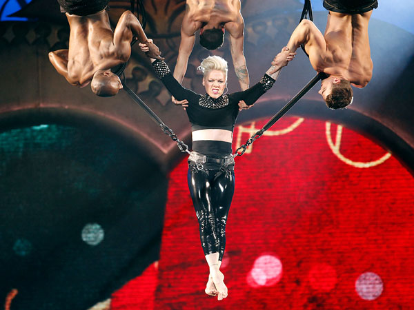 Pink performs at the Wells Fargo Center, Sunday, March 17, 2013. (Yong Kim / Staff Photographer)