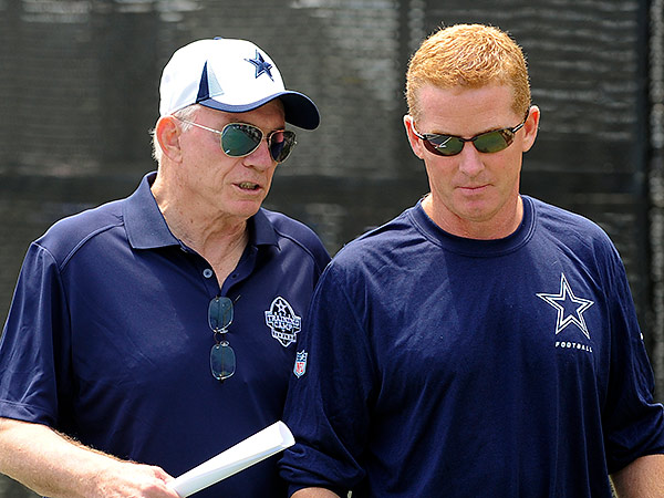 Dallas Cowboys owner and general manager Jerry Jones (left) and head coach Jason Garrett. (Gus Ruelas/AP)