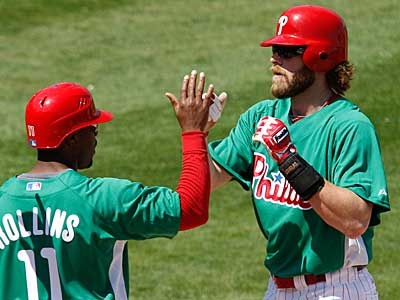 Jayson Werth high-fives Jimmy Rollins during a game earlier this week. (AP Photo / Gene J. Puskar)