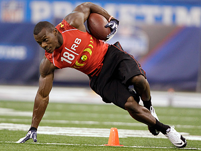 Oklahoma State running back Kendall Hunter runs a drill at the NFL scouting combine. (AP Photo/Michael Conroy)