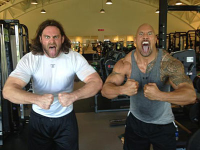 The Rock, right, worked out at the NovaCare Complex before a WWE event Monday. (Courtesy of Evan Mathis´ Twitter)