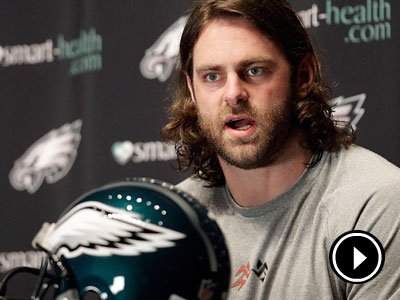 """I'm thrilled to be back with this organization,"" Evan Mathis said. (AP Photo/Matt Slocum)<br /><br />"