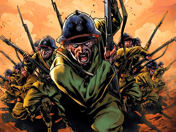 Detail from cover of Harlem Hellfighters.