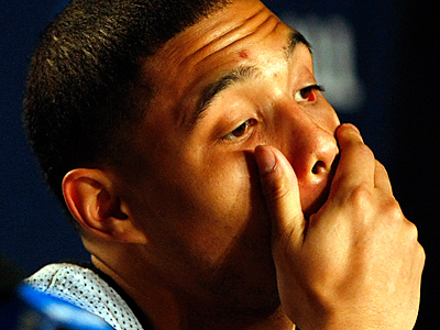 Nova´s Scottie Reynolds reacts to questions during a postgame press conference. ( Ron Cortes / Staff Photographer )