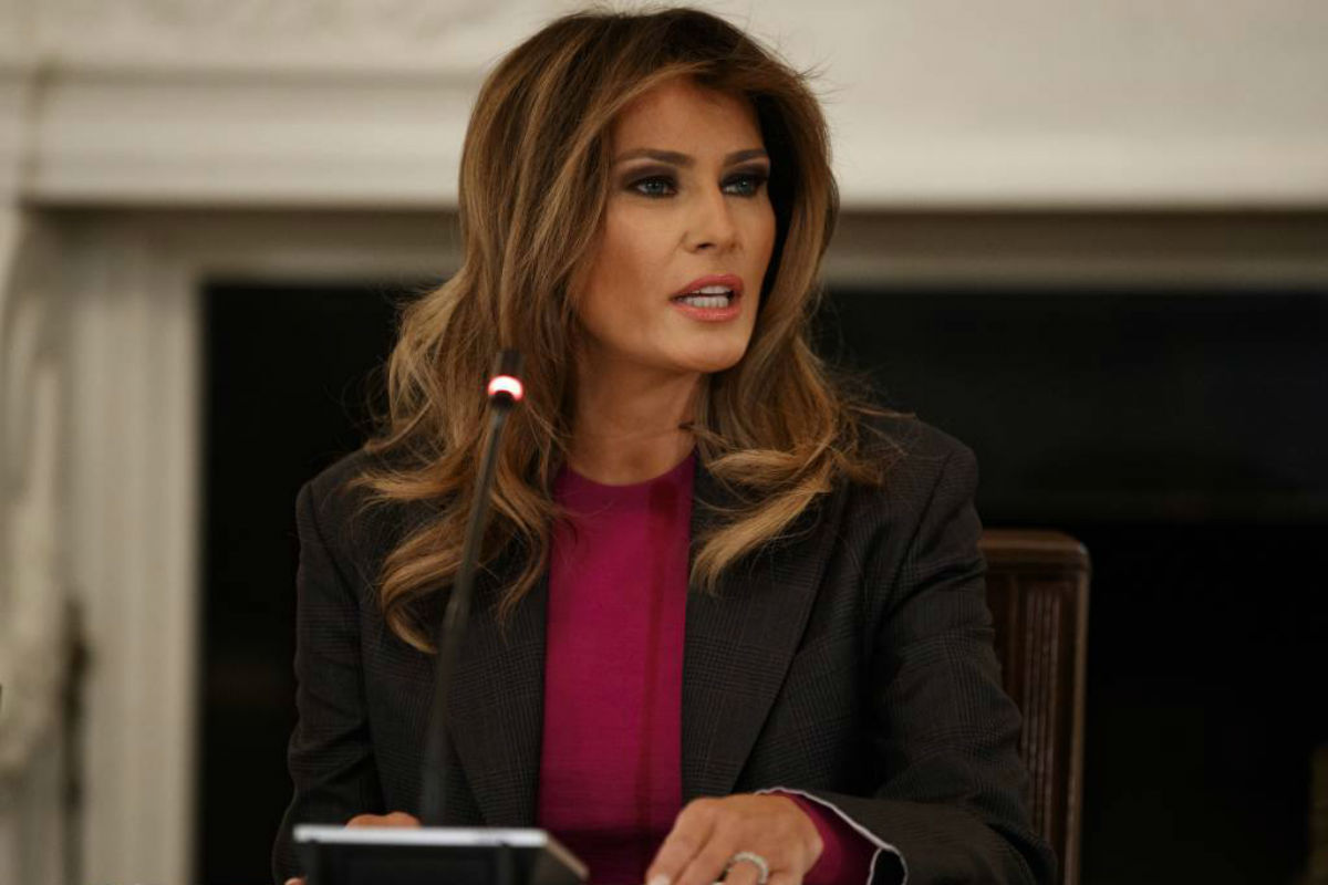 First lady Melania Trump speaks during a roundtable on cyberbullying in the State Dining Room of the White House, Tuesday, March 20, 2018, in Washington.