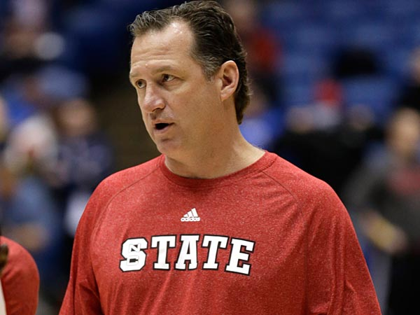 North Carolina State head coach Mark Gottfried watches practice at the<br />NCAA college basketball tournament, Thursday, March 21, 2013, in<br />Dayton, Ohio. North Carolina State plays Temple on Friday. (Al Behrman/AP)
