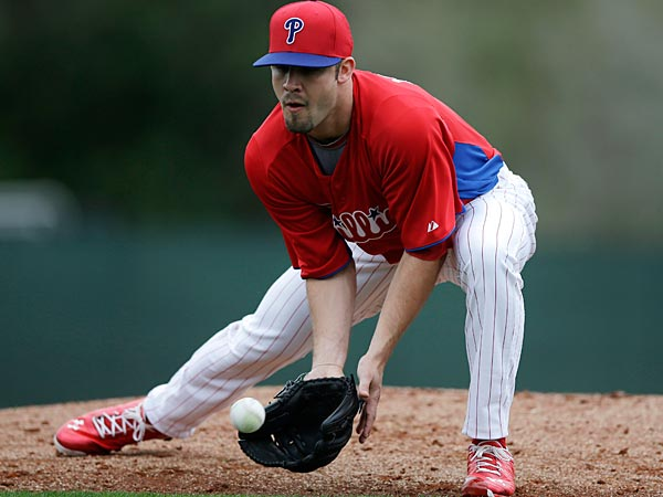 Philadelphia Phillies´ Adam Morgan in action during a workout at baseball spring training, Thursday, Feb. 14, 2013, in Clearwater, Fla. (AP Photo/Matt Slocum)