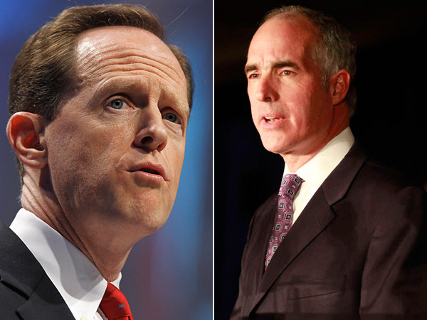 Sen. Pat Toomey, left (R., Pa.), and Sen. Bob Casey (D., Pa.). (File Photos)
