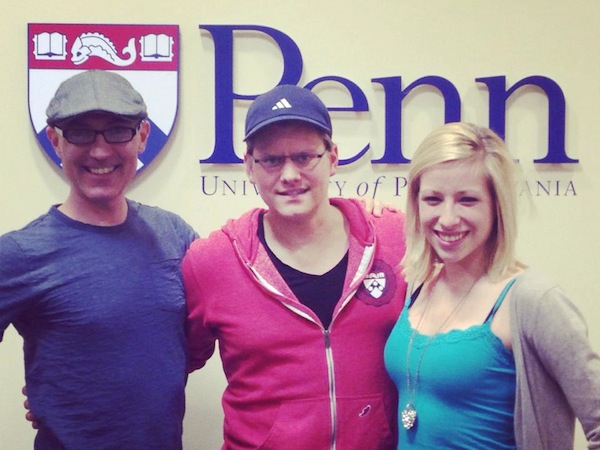 Author John Schlimm (left) with Penn Vegan Society members Victor Galli and Brianna Krejci.