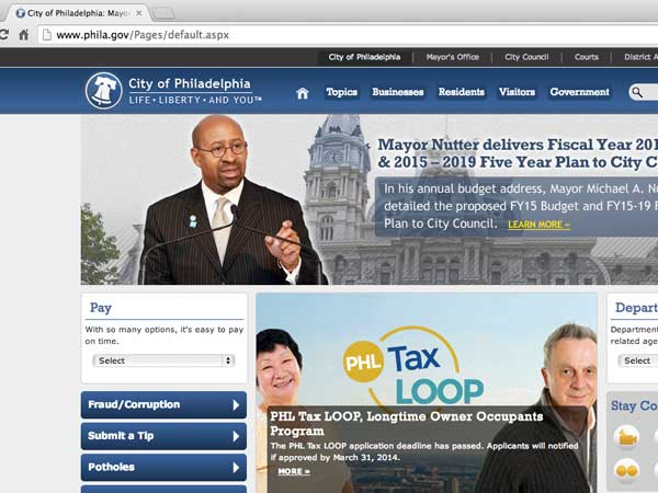 A Missouri man has been charged in an attempted DDOS attack on phila.gov, the homepage seen here.