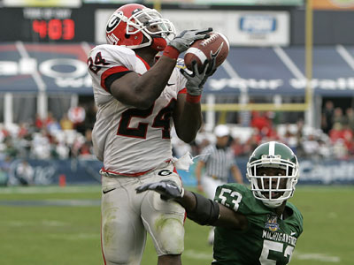 Georgia running back Knowshon Moreno is one of several options the Eagles may have if they choose to draft a running back with one of their two first round draft picks. (John Raoux / Associated Press)
