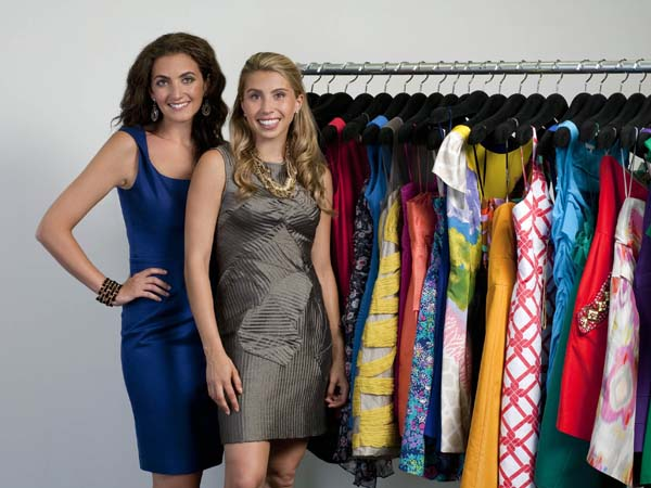 Rent the Runway is an online company that allows consumers to borrow, for a fee, designer clothes and accessories. Rent the Runway co-founders Jennifer Hyman, left, and Jenny Fleiss. (AP Photo / Rent the Runway, Philippe Rohdewald)