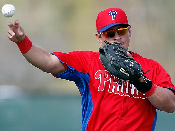 Phillies&acute; catcher Carlos Ruiz throws the baseball during spring<br />training in Clearwater, FL on Saturday, February 16, 2013.  ( Yong Kim<br />/ Staff Photographer )