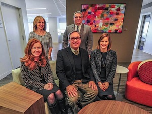 Michelle Wilkes (back left), Advisory Leader, Frank Frabizzio, Assurance Leader, Amy Lynn Flood, Partner, Ed Lovelidge, Managing Partner in Philadelphia, and Jennifer Mantini, Partner, sit together at the PwC office located at 2001 Market St., on Mar. 6, 2015, in Philadelphia, Pa. (Jessie Fox / Philly.com)