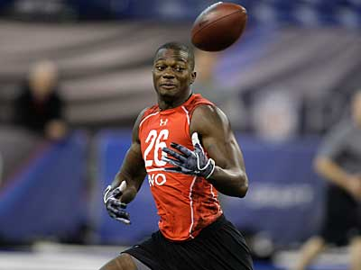 South Florida WR Carlton Mitchell runs through a drill at the combine. (AP photo / Darron Cummings)