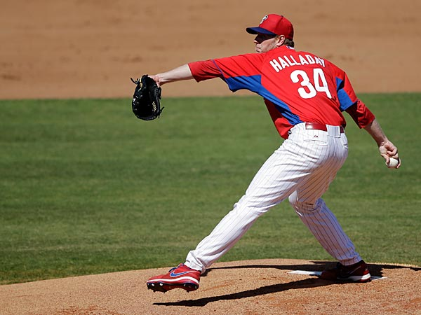 Philadelphia Phillies´ Roy Halladay in action during a spring training exhibition baseball game against the Washington Nationals, Wednesday, March 6, 2013, in Clearwater, Fla. (AP Photo/Matt Slocum)