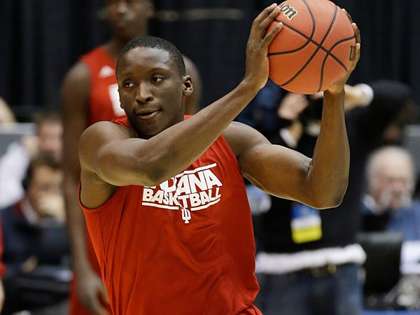 Indiana guard Victor Oladipo brings the ball upcourt during practice at the NCAA college basketball tournament, Thursday, March 21, 2013, in Dayton, Ohio. Indiana plays James Madison in the second round on Friday. (AP Photo/Al Behrman)