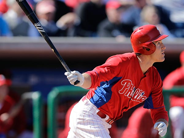 Philadelphia Phillies´ Chase Utley in action during a spring training exhibition baseball game against the Minnesota Twins, Thursday, March 7, 2013, in Clearwater, Fla. (AP Photo/Matt Slocum)