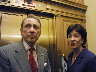 Sen. Arlen Specter (left) said today he will vote against the Employee Free Choice Act. (Susan Walsh/AP file photo)