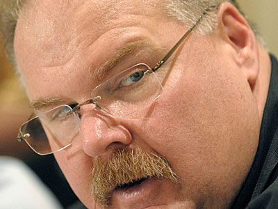 Andy Reid speaks with reporters Wednesday morning at the league meetings in Orlando. (AP Photo / Phelan M. Ebenhack)