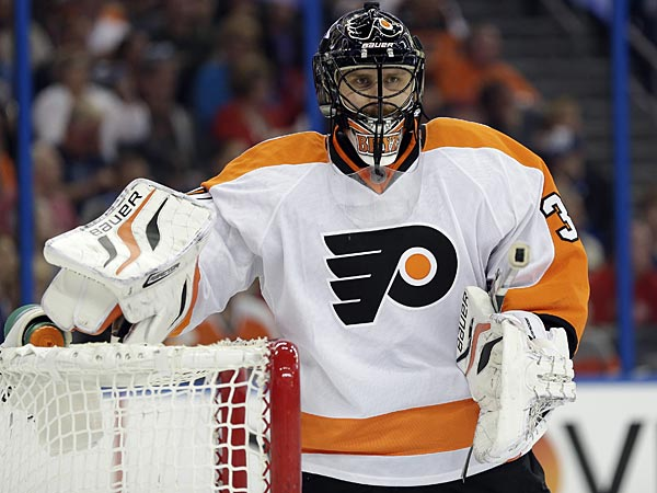 Philadelphia Flyers goalie Ilya Bryzgalov, of Russia, (30) during the second period of an NHL hockey game against the Tampa Bay Lightning Monday, March 18, 2013, in Tampa, Fla. (AP Photo/Chris O´Meara)