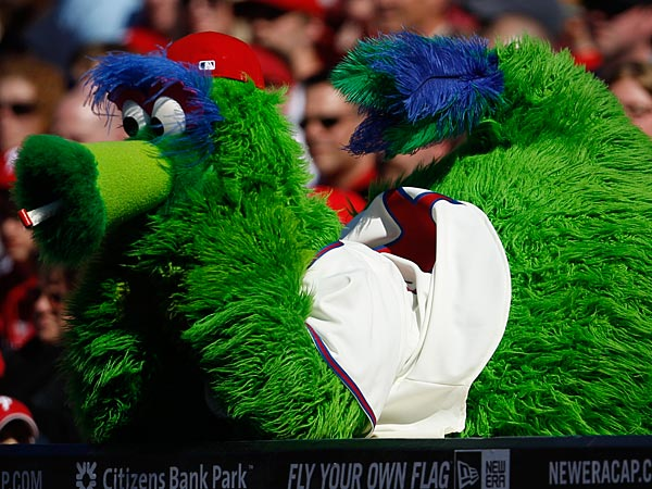 The Phillie Phanatic watches during a baseball game against the Florida Marlins, Sunday, April 17, 2011, in Philadelphia. (AP Photo/Matt Slocum)
