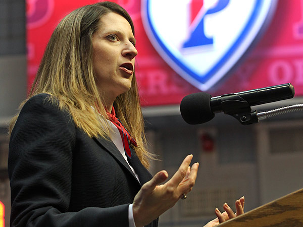 New Penn athletic director Grace Calhoun at her introductory press conference this past March. (Michael Bryant/Staff Photographer)