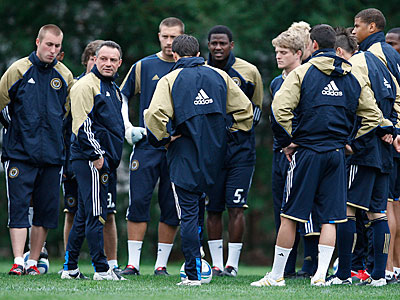 Union team manager Peter Nowak speaks to his team during practice on March 22. (David Maialetti / Staff Photographer)