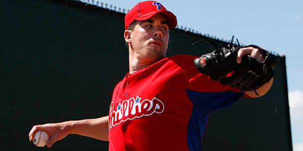 Phillies prospect Trevor May warms up before a minor league inter-squad game. (David Maialetti/Staff Photographer)