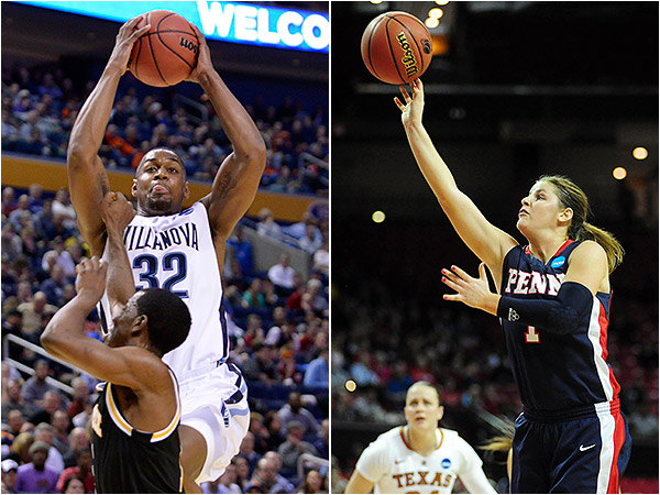 Villanova´s James Bell (left) and Penn´s Alyssa Baron (right). (USA Today Sports file photos)