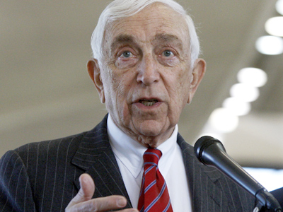 Sen. Frank Lautenberg, D-N.J., speaks during a news conference at Newark Liberty International Airport, in Newark, N.J. in 2010. (AP Photo/Mel Evans, File)