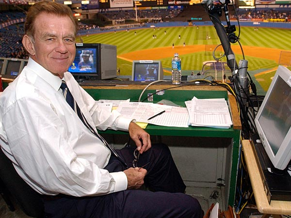 Baseball announcer Tim McCarver poses in the press box before the start of Game 2 of the American League Division Series Thursday, Oct. 2, 2003 in New York. McCarver announced he will retire at the end of the 2013 season. (AP Photo/Kathy Willens)