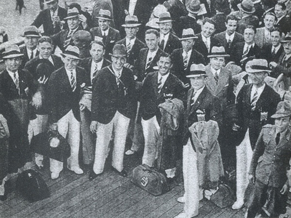 The 1934 United States World Cup team pictured as it prepared to depart for Italy.