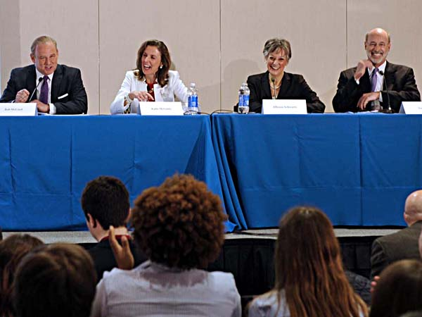 The Pennsylvania Democratic gubernatorial candidates attend a forum at the PA College Democrats Convention at Temple Univ. March 28, 2014. From left: Rob McCord, Katie McGinty, Allyson Schwartz, and Tom Wolf. ( TOM GRALISH / Staff Photographer )
