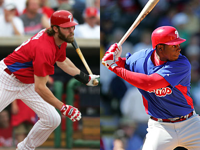 Charlie Manuel has made comparisons between Jayson Werth, left, and John Mayberry Jr., right. (David Swanson / Staff Photographer)