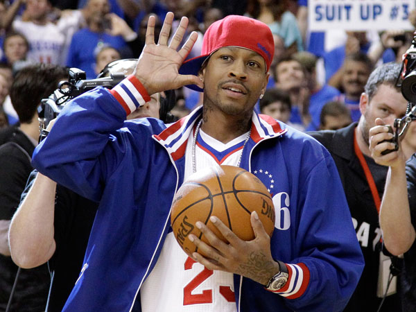 The Sixers will host Allen Iverson bobblehead night when they host the Bobcats Saturday. (Matt Slocum/AP file)