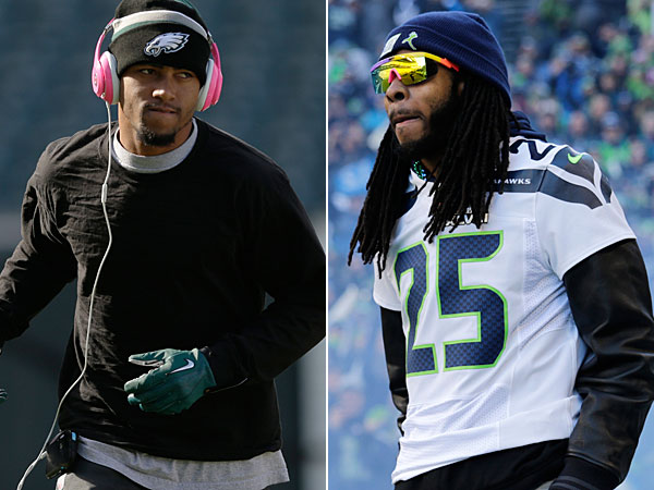 DeSean Jackson and Seahawks cornerback Richard Sherman. (Matt Rourke/AP) (John Froschauer/AP)
