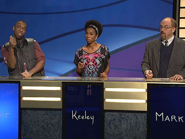 Louis C.K. competes against SNL cast members on ´Black Jeopardy.´ (Screenshot via NBC)