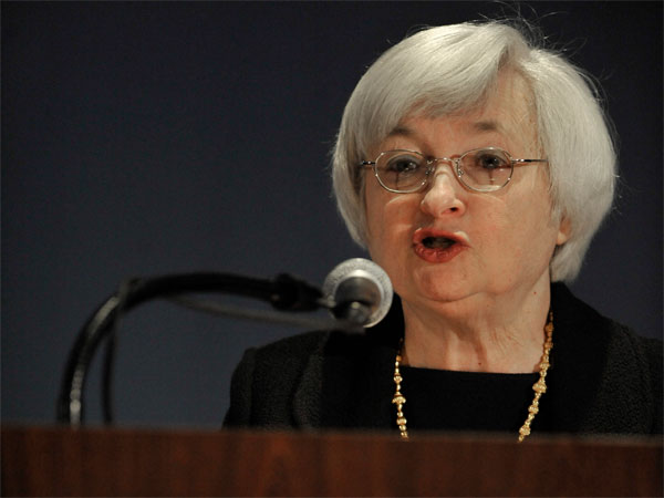 Federal Reserve Chair Janet Yellen speaks to community development professionals in Chicago at the National Interagency Community Reinvestment Conference in Chicago, Monday, March, 31, 2014. (AP Photo/Paul Beaty)