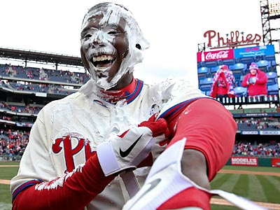 John Mayberry Jr. became the first shaving cream pie victim of the season after his walk-off hit. (Steven M. Falk/staff photographer)