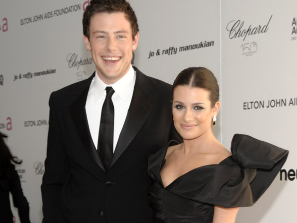 Actor Cory Monteith, left, and actress Lea Michele arrive at the Elton John Oscar Party in West Hollywood, Calif. on Sunday, March 7, 2010. (AP Photo/Dan Steinberg)