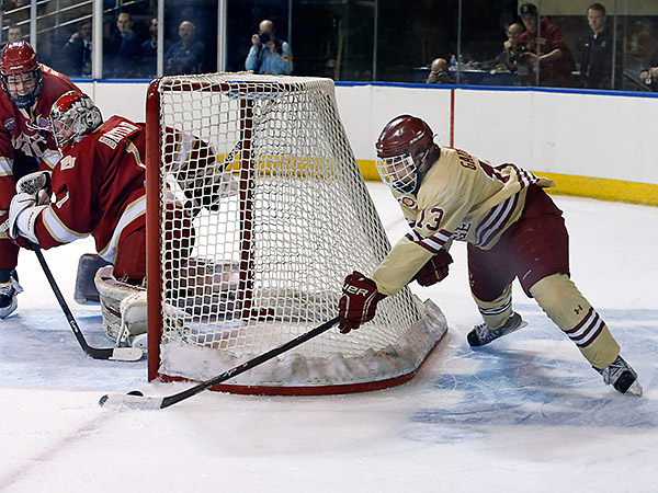Boston College´s Gaudreau, a Carneys Point native, is the leading candidate to win the Hobey Baker Award. (Elise Amendola/AP file photo)