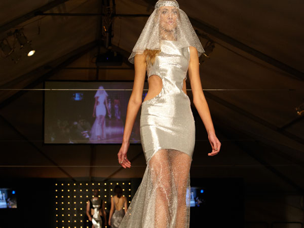 "A look from ""Blasting Off,"" featured in the 2013 Moore Spring Fashion show."