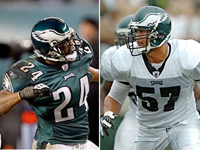 The Eagles have completed a trade with the Browns, sending Chris Gocong (right) and Sheldon Brown to Cleveland. (Yong Kim/ Clem Murray/Staff file)