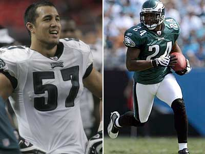 The Eagles have dealt Chris Gocong (left) and Sheldon Brown to Cleveland. (File photos)