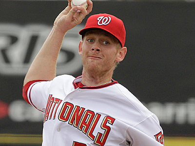 Top draft pick Stephen Strasburg throws during the second inning of a spring training baseball game. (AP Photo/Charlie Riedel, File)