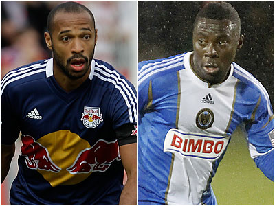Thierry Henry and Freddy Adu are likely to be on the MLS All-Star team that will play at PPL Park in July. (AP file photos)