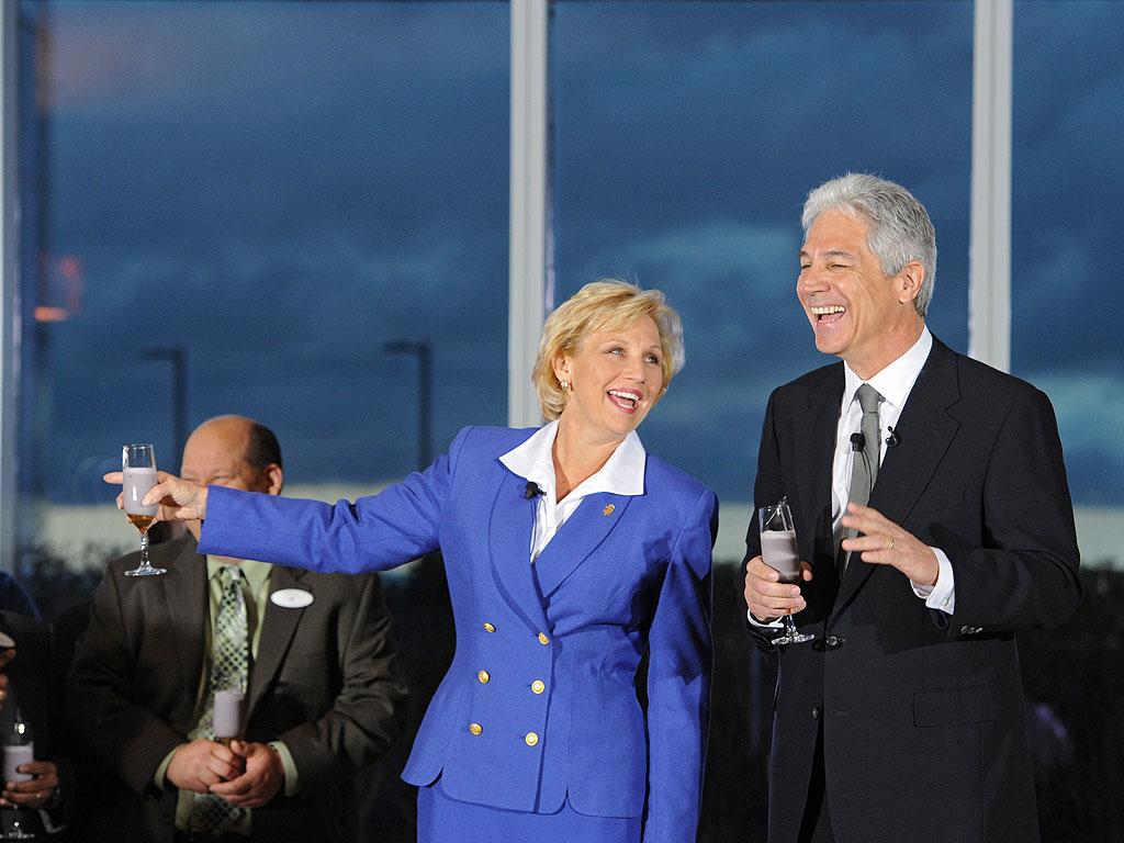 New Jersey acting governor Kim Guadagno (left) and Kevin DeSanctis, CEO of the new Revel Casino and Resort in Atlantic City, share a light moment at dawn Monday, April 2, 2012 during a ceremony to officially start an 8-week preview at the resort before the official grand opening Memorial Day Weekend. N.J. Gov. Chris Christie is currently out of the country traveling. (Clem Murray / Staff Photographer)