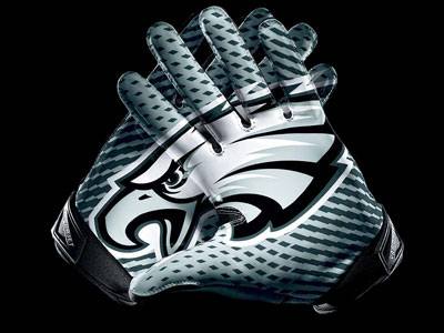 Eagles players will be able to wear the Nike Vapor Jet 2.0 gloves with an interlocking team logo on the palms. (Nike promotional photo)