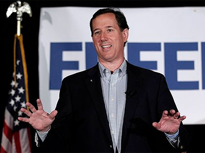 Republican presidential candidate, former Pennsylvania Sen. Rick Santorum speaks in Shawano, Wis., Monday, April 2, 2012. (AP Photo / Jae C. Hong)